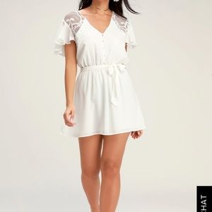FIRST IMPRESSIONS WHITE CROCHET LACE SKATER DRESS